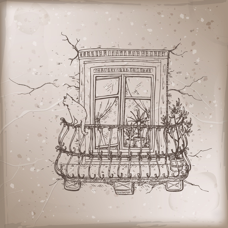 Romantic vintage card with old balcony and cat sketch.  イラスト・ベクター素材