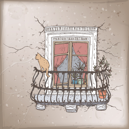 Romantic vintage card with old balcony and cat color sketch. Ilustração