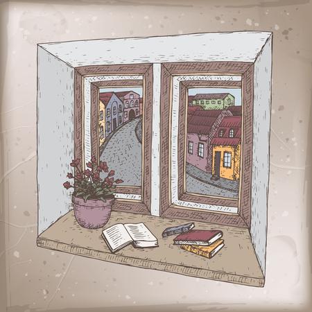 Romantische vintage kaart met boeken over vensterbank kleur schets. Geweldig voor posters, boekenillustraties, kerstkaarten. Vector Illustratie