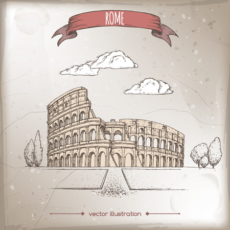Vintage travel illustration with Colosseum aka Coliseum in Rome, Italy.