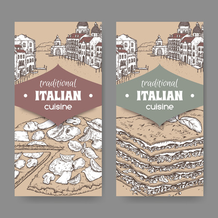 Set of two traditional Italian cuisine labels with Venice landscape, pizza and lasagna on cardboard background. Great for pizzeria, bakery and restaurant, cafe ads, brochures, labels.