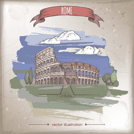 Color vintage travel illustration with Colosseum aka Coliseum in Rome, Italy.