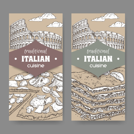 Two vintage banners with Rome landscape, pizza and lasagna on white. Stok Fotoğraf