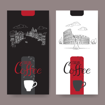 Set of two Italian coffee labels with Venice and Rome landscapes on black and white background. Stok Fotoğraf