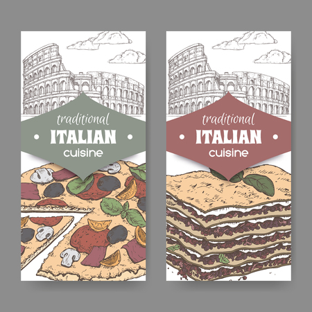Two color banners with Rome landscape, pizza and lasagna on white. Great for pizzeria, bakery and restaurant, cafe ads, brochures, labels. Çizim