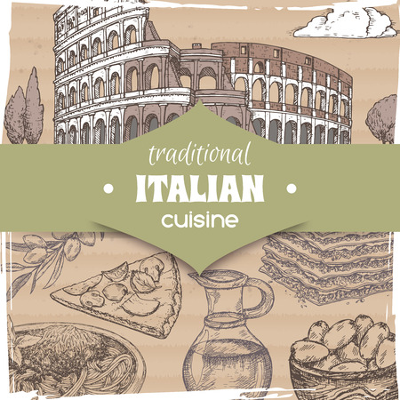 Vintage template with Rome landscape and Italian cuisine dishes. Great for pizzeria, bakery and restaurant, cafe ads, brochures, labels.