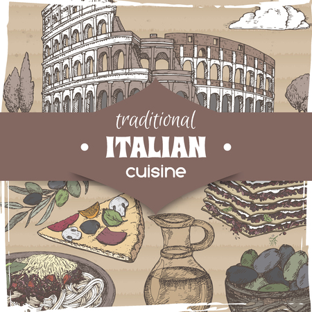 Vintage template with Rome landscape and color Italian cuisine dishes. Great for pizzeria, bakery and restaurant, cafe ads, brochures, labels.