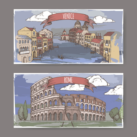 Two color vintage travel banners with Grand Canal in Venice and Colosseum in Rome, Italy. Hand drawn sketch. Great for coffee, restaurant, cafe ads, travel brochures, labels. Illustration