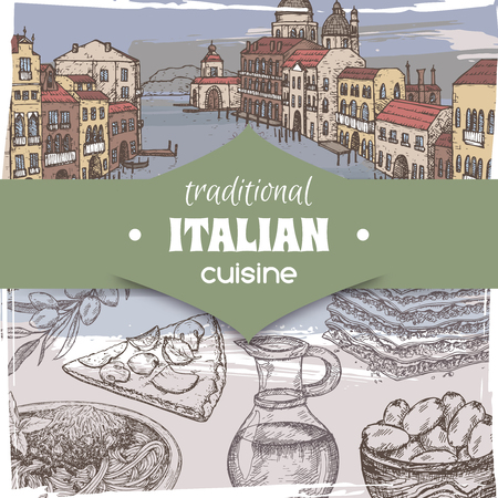 Vintage template with color Venice landscape and Italian cuisine dishes. Great for pizzeria, bakery and restaurant, cafe ads, brochures, labels. Vetores