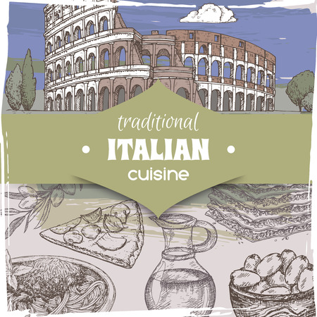 Vintage template with color Rome landscape and Italian cuisine dishes. Great for pizzeria, bakery and restaurant, cafe ads, brochures, labels.
