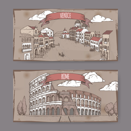 Two vintage travel banners with Grand Canal in Venice and Colosseum in Rome, Italy. Hand drawn sketch. Great for coffee, restaurant, cafe ads, travel brochures, labels. Çizim