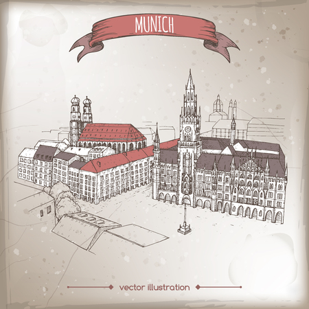 Vintage travel illustration with Munich, Germany, old town sketch. Hand drawn sketch. Great for coffee, restaurant, cafe ads, travel brochures, labels.