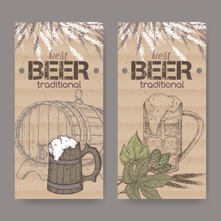 Two labels with hand drawn beer keg, mug, hop and wheat on cardboard background. Illustration