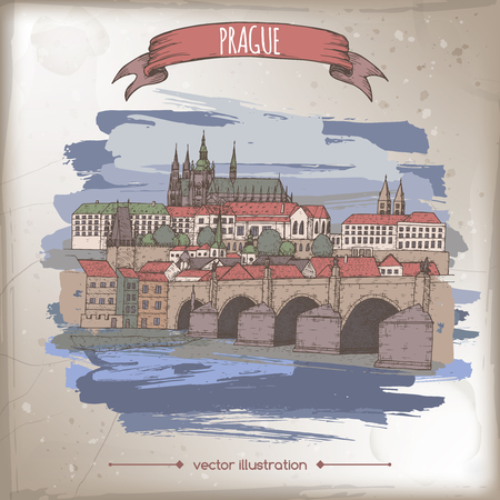Vintage color travel illustration with Prague, Czech Republic, old town sketch.