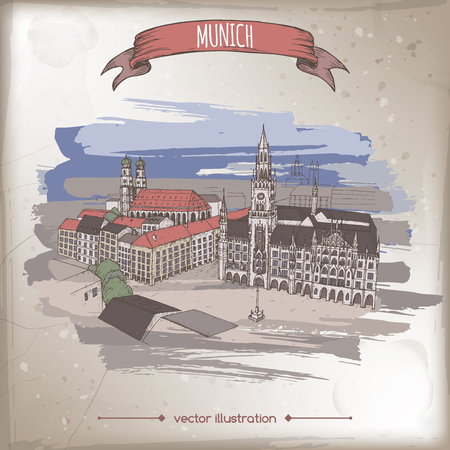 Vintage color travel illustration with Munich, Germany, old town sketch. Hand drawn sketch. Great for coffee, restaurant, cafe ads, travel brochures, labels.