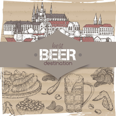 Beer travel destination template with Prague old town sketch, beer mug, chips, nuts, chicken wings and snack plate.