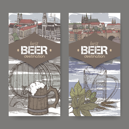 Two labels with hand drawn beer keg, mug, hop, wheat and color Prague and Munich sketches.
