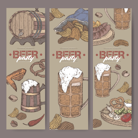 Three color beer party banners with beer keg, mug, chips, nuts, chicken wings, hop branch and snack plate. Great for bar, restaurant, cards and menu, pub signs, culinary design.