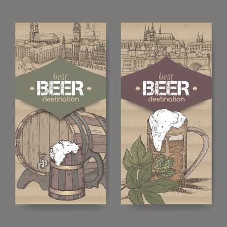 Two labels with hand drawn beer keg, mug, hop, wheat and Prague and Munich sketches on cardboard background.