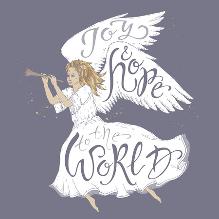 Christmas brush lettering placed in a color form of a flying angel and saying Joy and hope to the world. Great for posters, greeting cards.