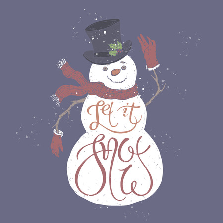 Christmas brush lettering placed in a color form of a cute snowman and saying Let it snow. Great for posters, greeting cards.