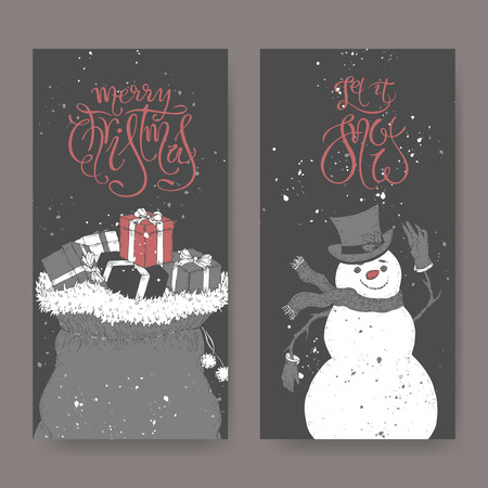 Set of two black and white banners with Christmas brush lettering, a bag with gifts and a cute snowman. Great for posters, greeting cards.