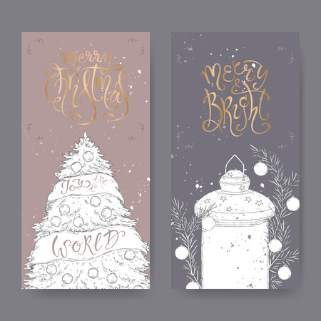 Set of two outline banners with Christmas brush lettering, Christmas tree and decorated holiday lantern. Great for posters, greeting cards.