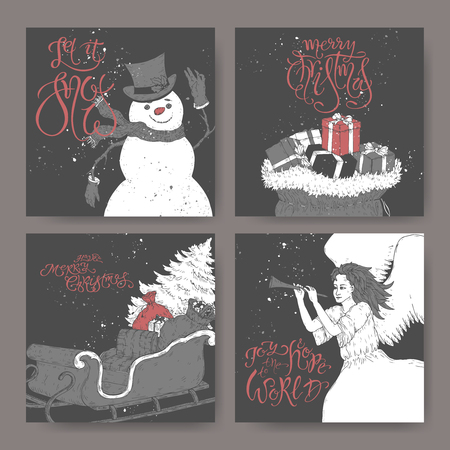 Set of four black and white banners with brush lettering greeting, showman, angel, a sleigh with Christmas tree and gift bags. Great for posters, greeting cards.