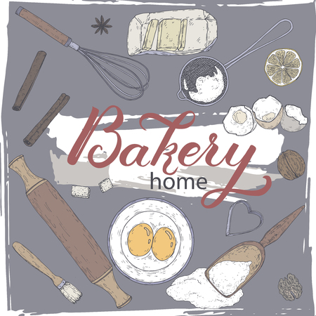 Home bakery set with rolling pin, beater, mold, strainer, flour, eggs and butter, lemon and spices. Coor hand drawn sketch. Great for bakery, grocery stores, organic shops, food label design.