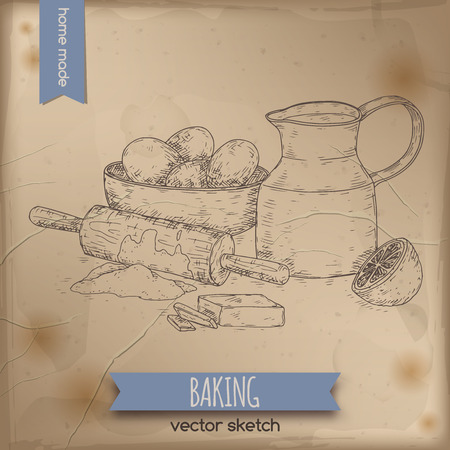 Home baking hand drawn sketch with milk decanter, rolling pin, flour, eggs, butter and lemon.