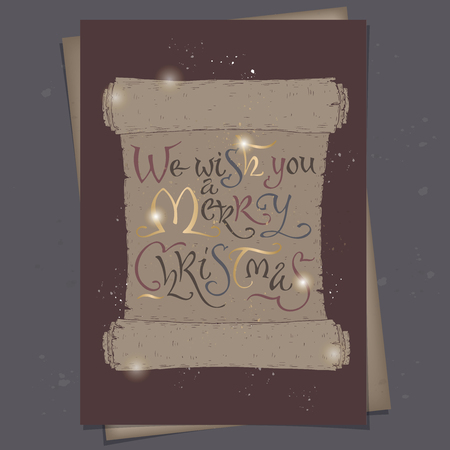 A4 format Christmas card with brush lettering placed in a color form of an ancient scroll and saying We wish you a Merry Christmas. Great for posters, greeting cards, holiday design. Stock Illustratie