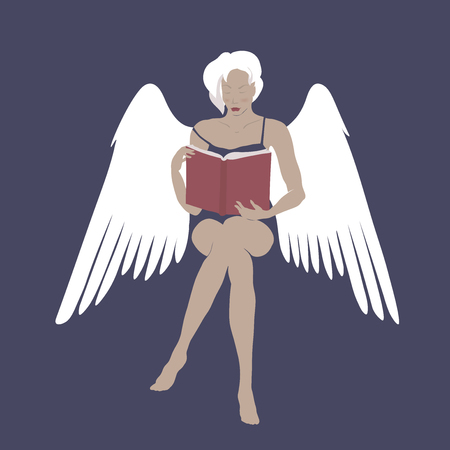 Cartoon with beautiful sitting lady angel reading a book.
