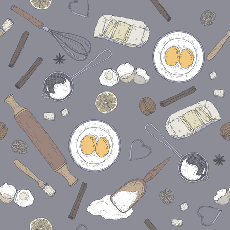 Color bakery pattern with rolling pin, beater, mold, strainer, flour, eggs, butter, lemon, spices. Hand drawn sketch.