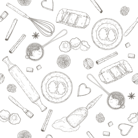 Bakery seamless pattern with rolling pin, beater, mold, strainer and flour, eggs and butter, lemon and spices. Hand drawn sketch. Great for bakery, grocery stores, organic shops, food design.