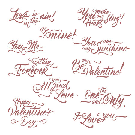 Collection of romantic brush lettering phrases saing Be my Valentine, I love you, All you need is love and other. Great for posters, greeting cards.