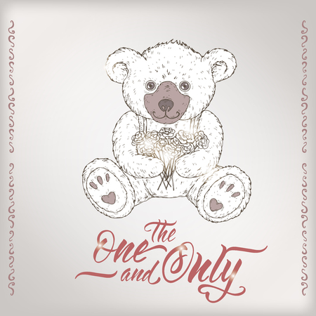 Romantic card with teddy bear and brush lettering saing The one and only. Great for posters, greeting cards.  イラスト・ベクター素材