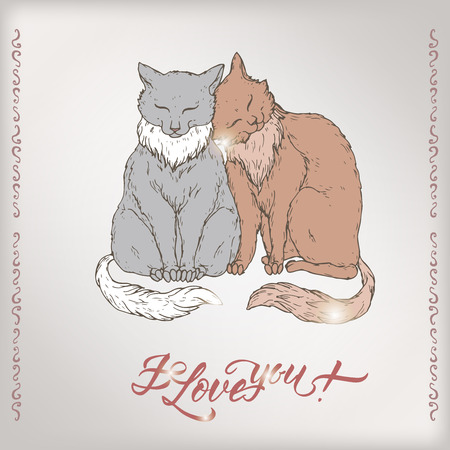 Valentine color romantic card with two cats and brush lettering saing I love you. Great for posters, greeting cards.