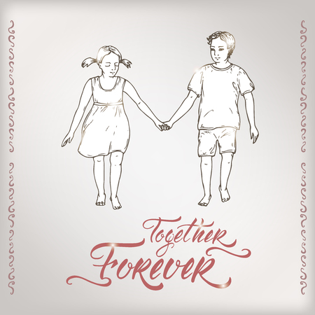 Valentine romantic card with boy and girl holding hands and brush lettering saing Together Forever. Great for posters, greeting cards.