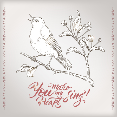 Valentine romantic card with singing bird and brush lettering saing You make my heart sing. Great for posters, greeting cards. Stock Illustratie