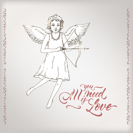 Valentine romantic card with cupid and brush lettering saing All you need is love. Great for posters, greeting cards.