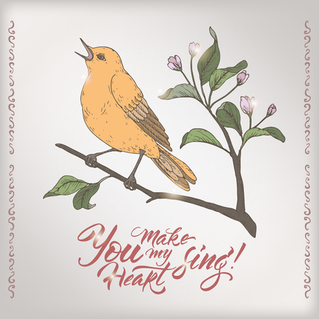 Valentine romantic color card with singing bird and brush lettering saing You make my heart sing. Great for posters, greeting cards.