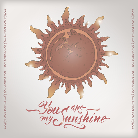 Valentine romantic color card with sleeping cat shining like sun and brush lettering saing You are my sunshine. Great for posters, greeting cards.
