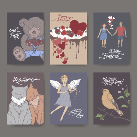 Six A4 format color Valentine romantic cards with teddy bear, cake, two cats, cupid, boy and girl, singing bird and brush lettering. Great for posters, greeting cards. Stock Illustratie