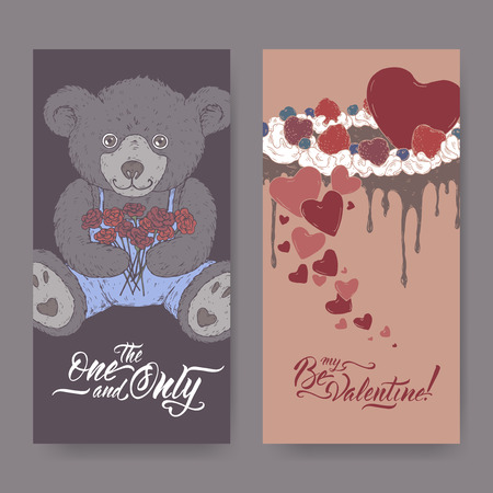 Two color Valentine romantic banners with teddy bear, cake decorated with hearts and brush lettering. Great for posters, greeting cards. Stock Illustratie