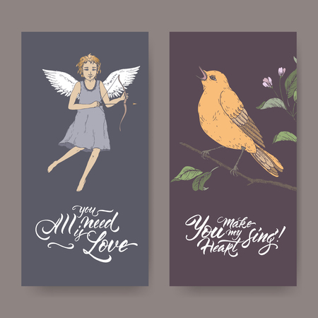 Two color Valentine romantic banners with cupid, singin bird and brush lettering. Great for posters, greeting cards. Stock Illustratie