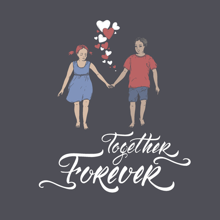 Valentine romantic color card with boy and girl holding hands on blue and brush lettering saing Together Forever. Great for posters, greeting cards. Stock Illustratie