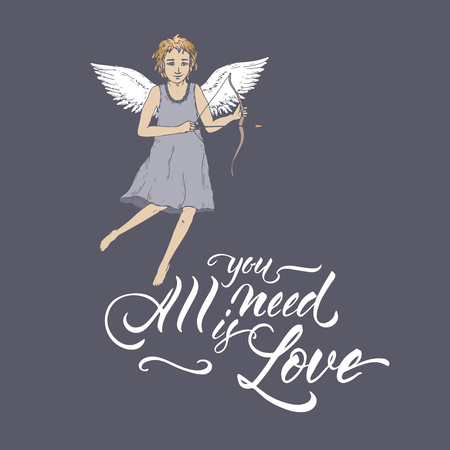 Valentine romantic color card with cupid on blue and brush lettering saing All you need is love. Great for posters, greeting cards.