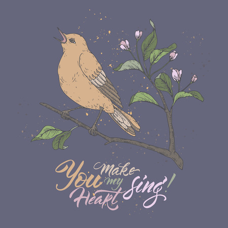 Valentine romantic color card with singing bird on blue and brush lettering saing You make my heart sing. Great for posters, greeting cards. Stock Illustratie