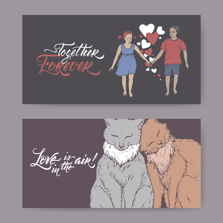 Two color Valentine romantic banners with two cats, boy and girl holding hands and brush lettering. Great for posters, greeting cards. Illustration