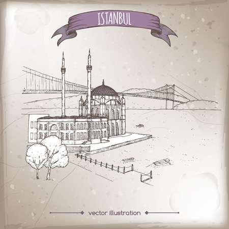 Vintage travel illustration with Ortakoy Mosque and bridge over Bosphorus in Istanbul, Turkey. Hand drawn sketch. Great for coffee, restaurant, cafe ads, travel brochures, labels.